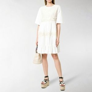 SEE BY CHLOÉ  Lace embellished short-sleeved dress
